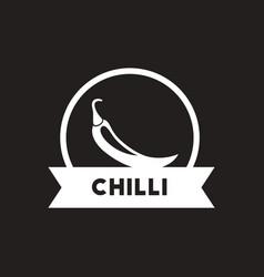 white icon on black background chilli vector image