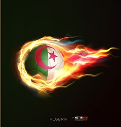 Algeria flag with flying soccer ball on fire vector image