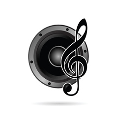 Treble clef with speaker icon vector