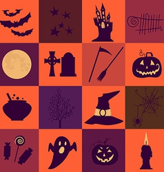 Halloween black and orange icons set bright vector