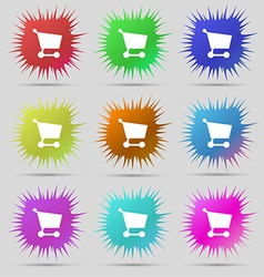 Shopping basket icon sign a set of nine original vector
