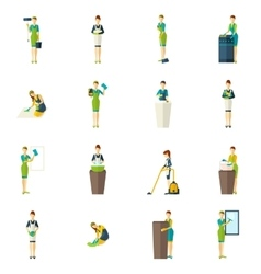 Cleaners color flat icons set vector