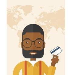 Happy businessman standing holding credit card vector