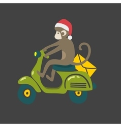 Monkey in red christmas hat on the vintage scooter vector image