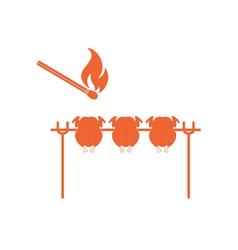 Barbecue chicks icon vector