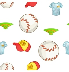 Baseball elements pattern cartoon style vector