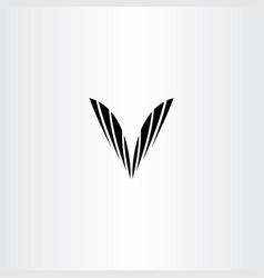 black v letter symbol clip art vector image vector image