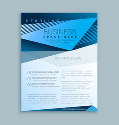 blue brochure flyer poster design template vector image vector image