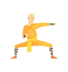 Bold asian shaolin monk kung fu martial arts vector