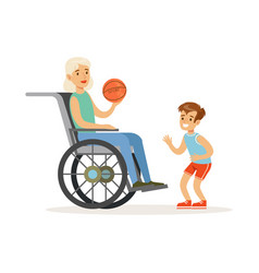 Boy playing ball with grandmother sitting in a vector