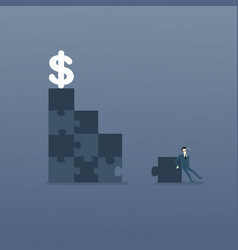 business man solve puzzle making stairs to dollar vector image vector image