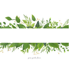 Card floral design with green watercolor leaves vector