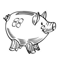 Cartoon image of piggy bank vector