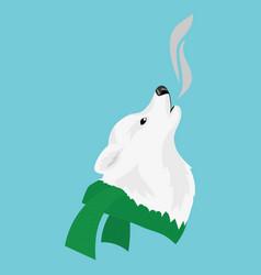 Cartoon portrait of a dog in a scarf christmas vector