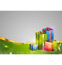 christmas background two color gifts vector image vector image