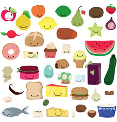 cute food kawaii vector image vector image