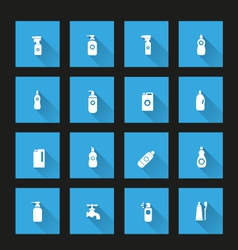 Detergent bottle icon set long shadow vector