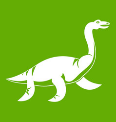 elasmosaurine dinosaur icon green vector image