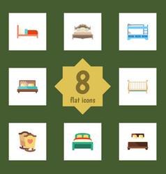 Flat mattress set of furniture bearings cot and vector