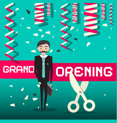 Grand opening design with businessman vector