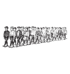 Line of boys or counting vintage engraving vector