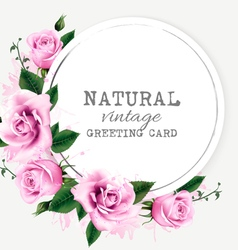 Nature vintage greeting card with beauty flowers vector image