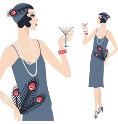 Retro young beautiful girl of 1920s style vector