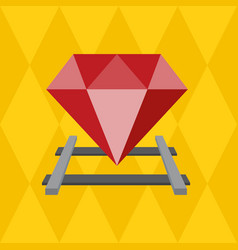 Ruby on the railway flat design vector