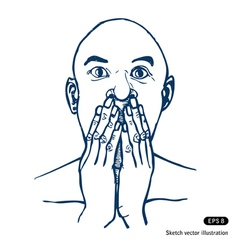 Scared or surprised man vector image