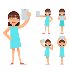 selfie photo portrait cute young girl geek hipster vector image vector image