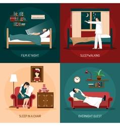 Sleeping poses 2x2 design concept vector
