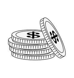 Stack of coins money icon image vector