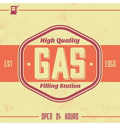 Vintage Gasoline Sign Retro Template vector image