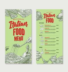 vintage italian food restaurant menu template vector image vector image