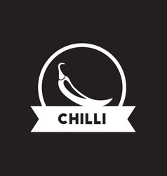 White icon on black background chilli vector