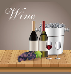 Wine bottles glass cups and ice bucket over wooden vector
