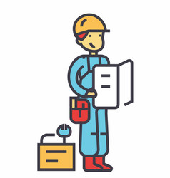 Worker with plan and tools concept line vector