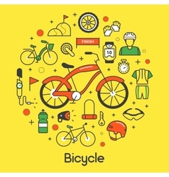 Bicycle and biking thin line icons set vector