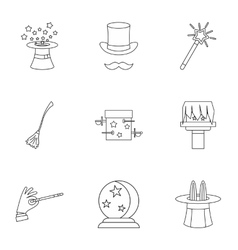 Tricks icons set outline style vector