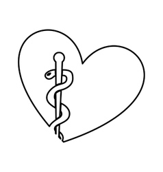 Heart with medical symbol vector