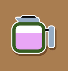 paper sticker on stylish background coffee kettle vector image