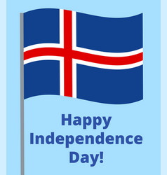 Happy independence day of iceland vector