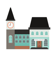 Train station building icon vector