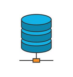 Data storage flat line icon vector
