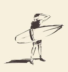 Drawn young man beach surfboard sketch vector