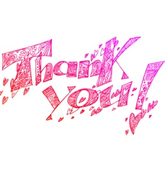 THANK YOU pink sketchy doodles vector image