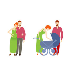 flat man pregnant woman with baby stroller vector image