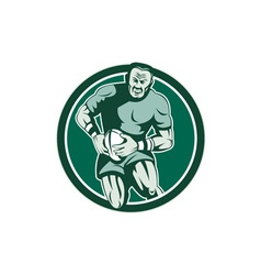Rugby player running attacking circle retro vector