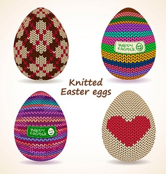 Set of knitted easter eggs icons vector
