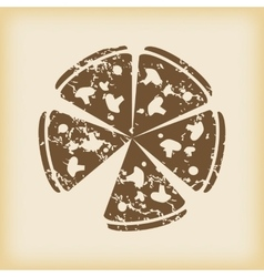 Grungy pizza icon vector